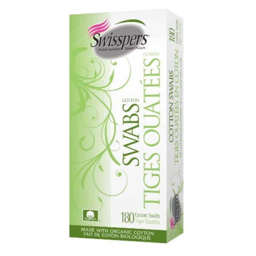 Swisspers Organics Cotton Swabs, 180 Count