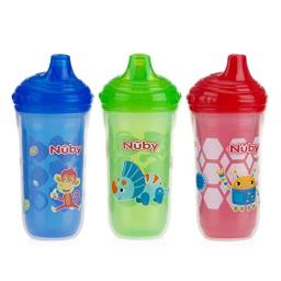 Nuby 3 Piece Insulated No Spill Easy Sip Cup with Vari-Flo Valve Hard Spout, Boy, 9 Oz