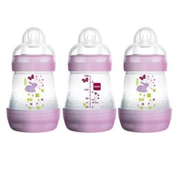 MAM Easy Start Anti-Colic Bottle 5 oz (3-Count), Baby Essentials, Slow Flow Bottles with Silicone Nipple, Baby Bottles for Baby Girl, Pink
