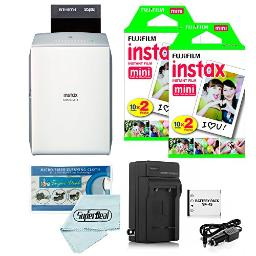 Fujifilm Instax Share Sp2 Smartphone Printer (Silver) Fujifilm Mini Twin Pack (40 Shots) Travel Charger & Extra Battery Cleaning Cloth