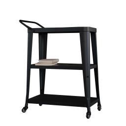 Industrial Style 3 Tier Metal Serving Cart with Casters, Black