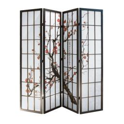 Tree and Flower Print 4 Panel Room Divider with Shoji Inserts, Red and Black