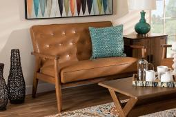 Baxton Studio Sorrento Mid-Century Modern Tan Faux Leather Upholstered and Walnut Brown Finished Wood Loveseat