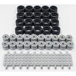 NEW Lego 24 X 14 Tire, Wheel and Technic Plate Axles Bulk Lot - 50 Pieces Total