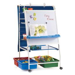 Copernicus Home School Classroom Expanded Storage Royal Reading Writing Center with Storage Tubs, Shelves
