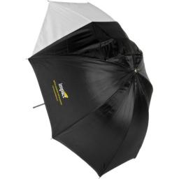 """Impact Convertible Umbrella - White Satin with Removable Black Backing - 60"""""""