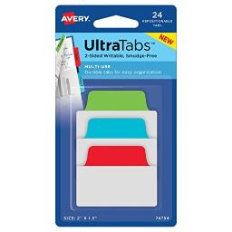 """Avery Multiuse Ultra Tabs, 2"""" x 1.5"""", 2-Side Writable, Red/Blue/Green, 24 Repositionable Tabs (74754)"""