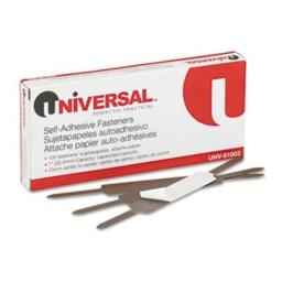 Universal 81003 Self-Adhesive Paper and File Fasteners, One Inch Capacity, 100/Box