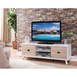 Benzara Modern Stand with Cutout Drawer Storage, White and Brown TV Cart