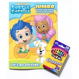 Bubble Guppies Jumbo Coloring and Activity Book with Box of 24 Crayons