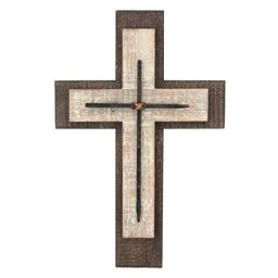 Decorative Worn White and Brown Wooden Hanging Wall Cross Rustic Cross for Wall of Crosses Religious Home Decor Gift Idea for Birthdays Easter Christmas Weddings or Any Occasion (SB-6002A)