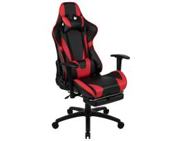 Offex X30 Gaming Chair Racing Office Ergonomic Computer Chair with Fully Reclining Back and Slide-Out Footrest in Red LeatherSoft