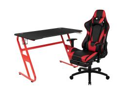 Offex Red Gaming Desk and Red/Black Footrest Reclining Gaming Chair Set with Cup Holder and Headphone Hook
