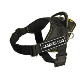 Dean & Tyler Fun Works 32-Inch to 42-Inch Pet Harness, Large, Cadaver Dog, Black with Yellow Trim