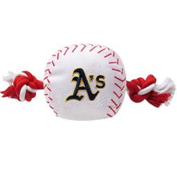 MLB OAKLAND ATHLETICS Baseball Rope Toy for DOGS & CATS. Tough nylon, Sporty Baseball Design, Heavy-duty ropes with Inner SQUEAKER