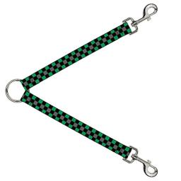 "Buckle Down DLS-W30383-W Checker Black/Gray/2 Green Leash Splitter, 1.5"" Wide - 30"" Length"