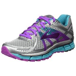 Brooks Women's Adrenaline Gts 17, Silver/Purple Cactus Flower/Bluebird, 9.5 B-Medium