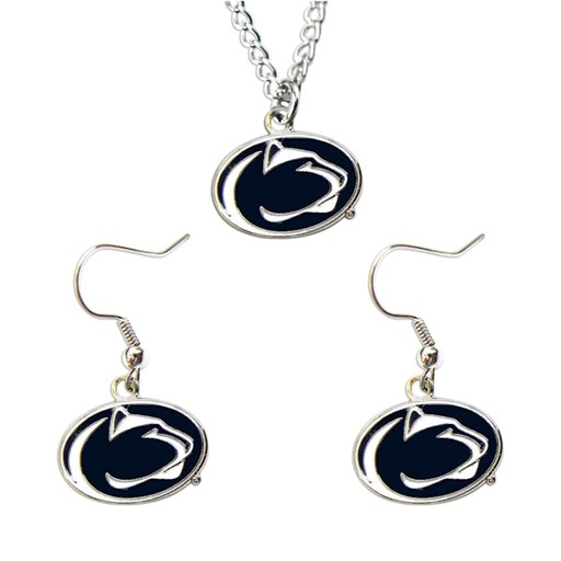 NCAA Penn State Nittany Lions Necklace and Dangle Earring Charm Set
