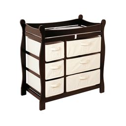 Badger Basket Co Espresso Sleigh Style Changing Table with Six Baskets