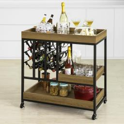 Haotian Bar Serving Cart Home Myra Rustic Mobile Kitchen Serving cart,Industrial Vintage Style Wood Metal Serving Trolley (FKW86-N)