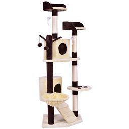 """63 Cat Tree Pet Play House w/ Hanging Toy and Ladder"""""""