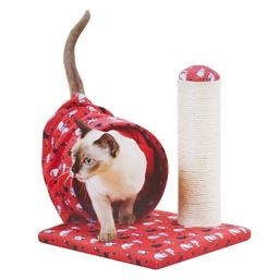 Cat Scratcher and Cat Tunnel Interactive Cat Toys – Cat Tunnels with Sisal Scratching Post – Cat Scratcher Large Cat Tube Tunnel