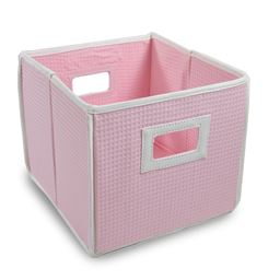 Badger Basket Co Folding Basket/Storage Cube - Pink Waffle