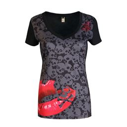 Skull Print T-Shirt Causal Women Short Sleeve V-Neck T-Shirt Tee Tops S-5XL Women - Black as picture, XXL 1955