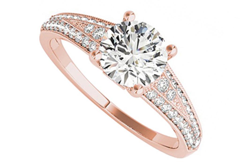 Lovebright Round Cubic Zirconia Engagement Ring In 14k Rose Gold Love Bright Jewelry Massgenie Com