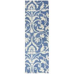 """Rizzy Home Marianna Fields Collection Tufted Area Rug, 2'6"""" x 8', Blue/Khaki"""
