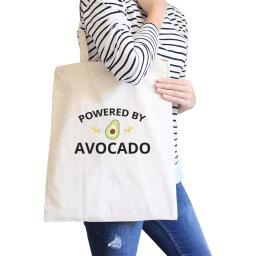 Powered By Avocado Natural Reusable Canvas Tote Cute Graphic Tote
