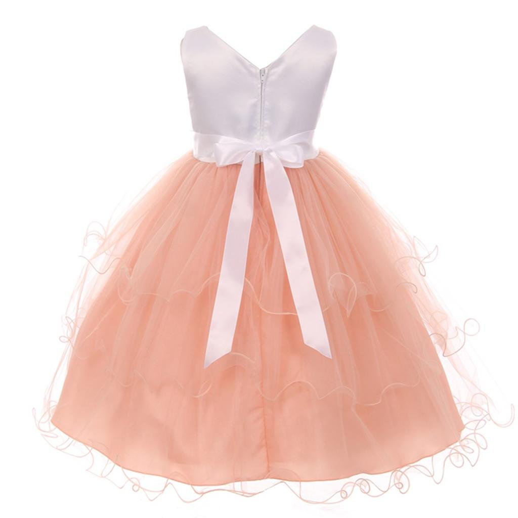 31487caa7 Shanil Inc. Big Girls White Peach Floral Adorned Easter Junior Bridesmaid  Dress 8-12 | massgenie.com