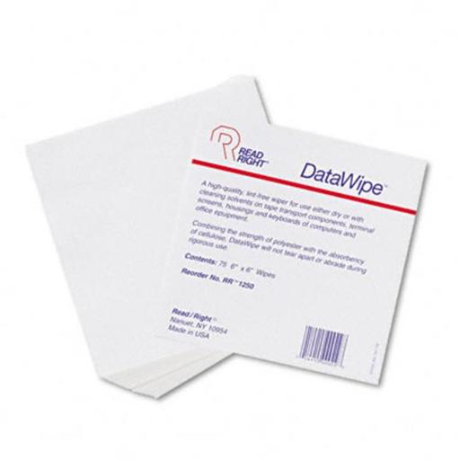 Read Right RR1250 DataWipe Office Equipment Cleaner Cloth 6 x 6 White 75/container