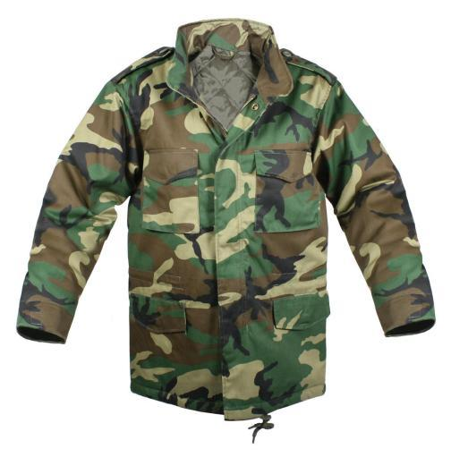 Kids Army Style Woodland Camo M-65 Field Jacket