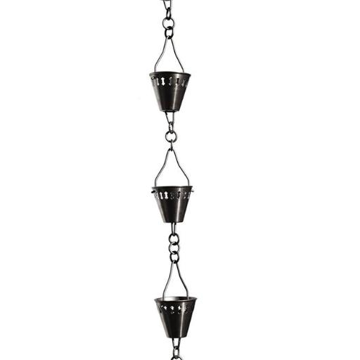 Patina Products R264 Brushed Stainless Shade Cup Rain Chain Full Length