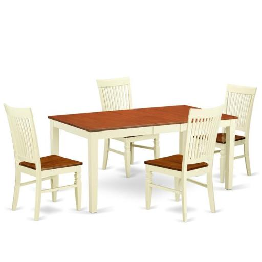 East West Furniture NIWE5-BMK-W Kitchen Table Set with a Dining Table & 4 Wood Seat Chairs, 5 piece - Buttermilk & Cherry