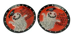 Set of 2 Whimsical Ghost and Bat Halloween Glass Plates 11 Inch