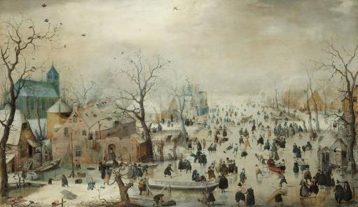 Winter Landscape With Ice Skaters Poster Print