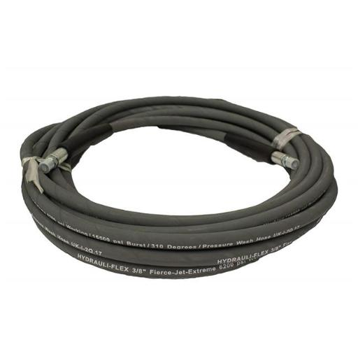 Hydrauli-Flex PW206-GY-50 0.375 in. Fierce Jet Extreme Pressure Washer Hose 100 ft. 2-Wire 6200 psi 310 Degrees