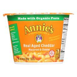 Annie's Homegrown Real Aged Cheddar Microwavable Macaroni and Cheese Cup - Case of 12 - 2.01 oz.