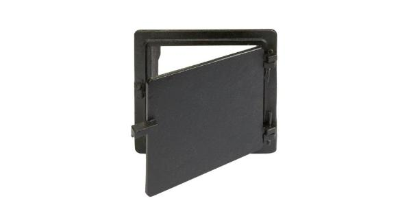 Vestal Manufacturing I-88 Clean Out Door 8   X 8   Cast Iron . Vestal Manufacturing  Cast Iron Clean Out Door.Size : 8  x 8 .Solid cast iron.Hinged with a single bolt closure.Outside dimensions  11 W x 10.25 H x 2 D.Works for indoor or outdoor cleanouts.