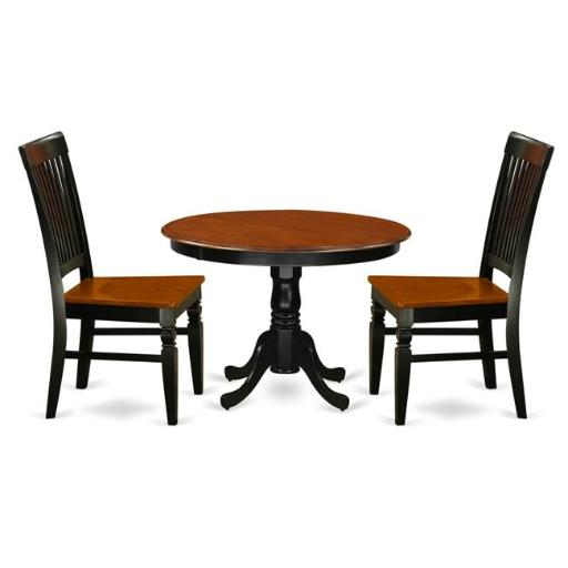 East West Furniture HLWE3-BCH-W Kitchen Table Set with a Dining Table & 2 Wood Seat Dining Chairs, 3 piece - Black & Cherry
