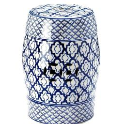 Accent Plus 10017922 13 x 13 x 17.5 in. Ceramic Stool Accent Table, Blue & White