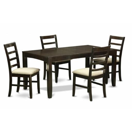 East West Furniture LYPF5-CAP-C 5 Piece Dining Table Set For 4-Table With Leaf and 4 Chairs For Dining Room