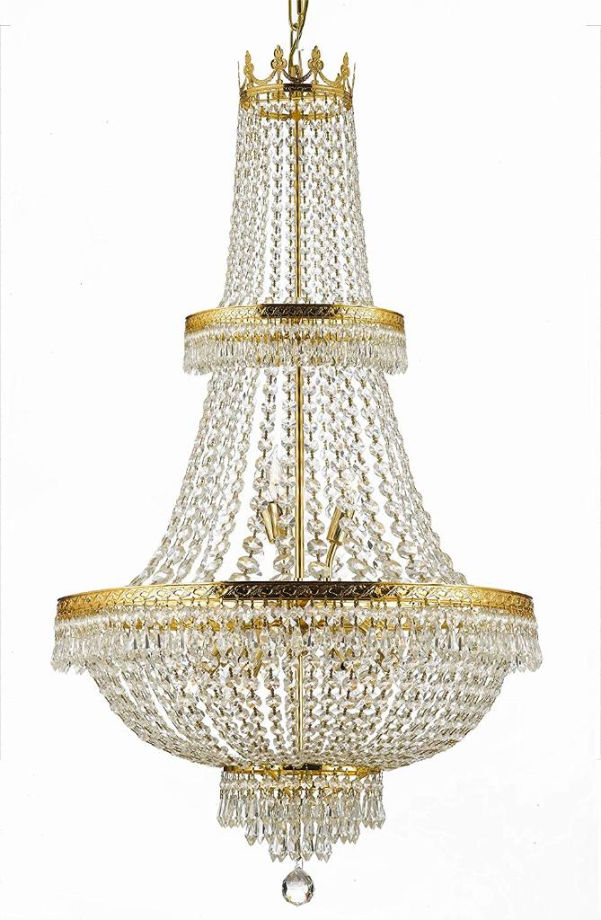 French Empire Crystal Chandelier Lighting H50 X W24 Good For Foyer Entryway Family Room Living