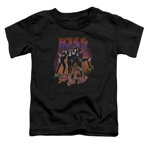 Kiss Shout It Out Loud Little Boys Toddler Shirt (Black, 4T)