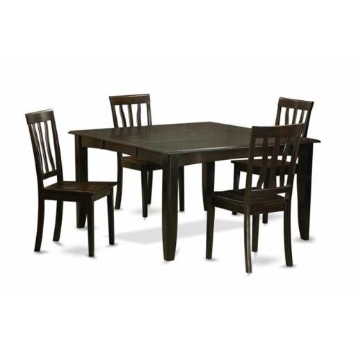 5 Piece Dining Table Set For 4-Table With Leaf and 4 Kitchen Chairs