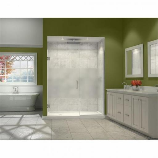 DreamLine SHDR-244557210-HFR-04 DreamLine Unidoor Plus 45-1/2 to 46 in. W x 72 in. H Hinged Shower Door, Half Frosted Glass Door, Brushed Nickel Finis