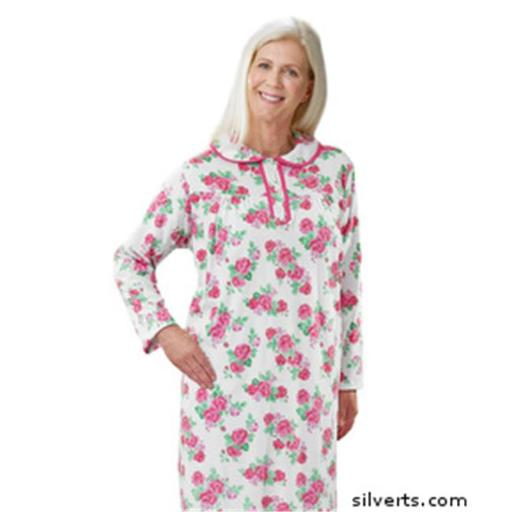 Silverts 262010202 Hospital & Home Health Care Night Gown for Womens, Rose - 3XL