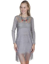 Scully Western Dress Womens Long Sleeve Tonal Fringed Pullover HC230 HC230